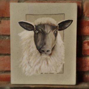 Peinture Tableau sur Bois Portrait Mouton