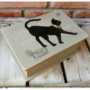 Boite en forme de livre décor Chat
