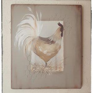 Peinture Tableau sur Bois Mon Coq