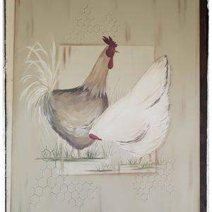 Peinture Tableau sur Bois Coq et Poule